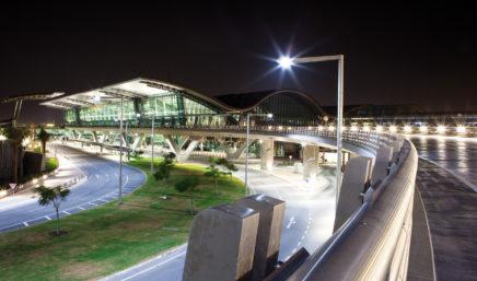 hamad international airport at night