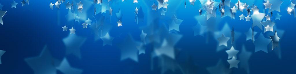 在蓝色背景的银色星